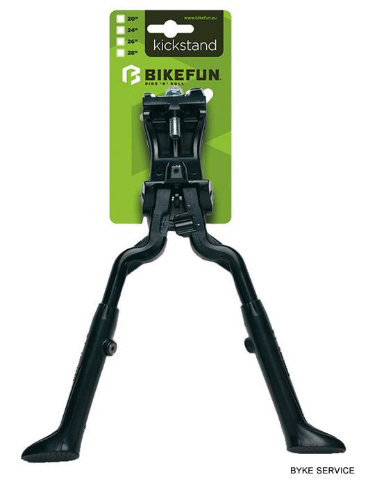 Picior sprijin BIKEFUN dublu cu montare la mijloc negru